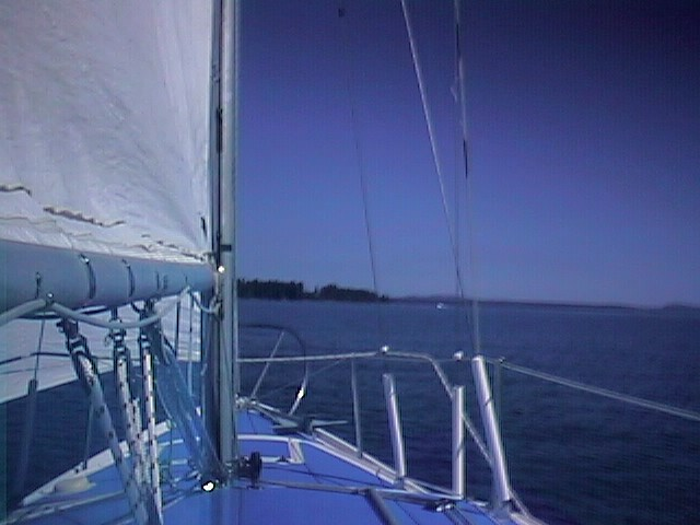 On the starboard tack, looking from the cockpit toward the edge of Ladysmith Harbour